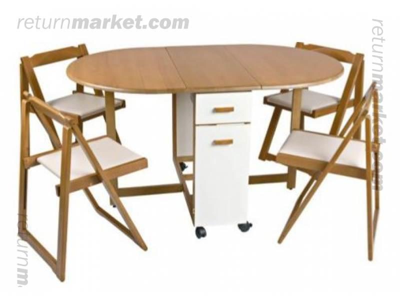 BULK furnitures sa10317 : 1408734228emperorovaldiningtableand4foldingchairstwotone from www.returnmarket.com size 800 x 600 jpeg 36kB